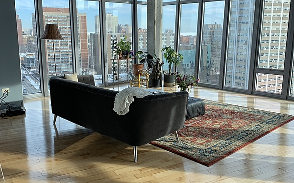 Industrial Loft Studio with North/East and South exposures and spectacular views of Lake Michigan!